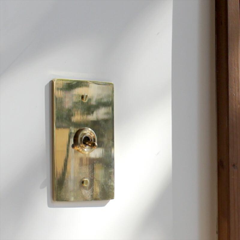 スイッチ アメリカン US 真鍮プレートゴールド・トグルスイッチ スイッチプレート/ 【PSE取得・工事必要】 アメリカンスイッチ/ 3路対応