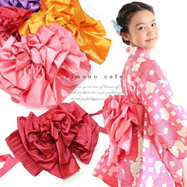 女の子の浴衣用プリーツ作り帯
