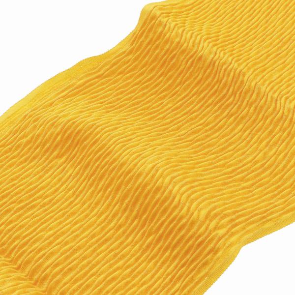 振袖用帯揚げ「丹後ちりめんふくら織り金通し 山吹色」 正絹【メール便対応可】