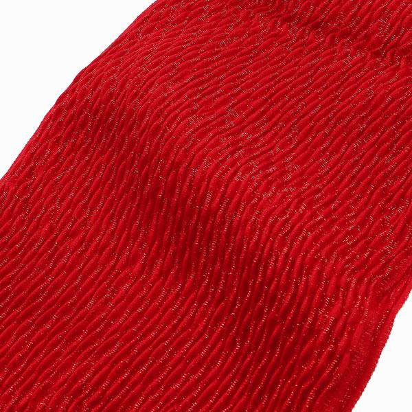 振袖用帯揚げ「丹後ちりめんふくら織り金通し 深紅」 正絹【メール便対応可】