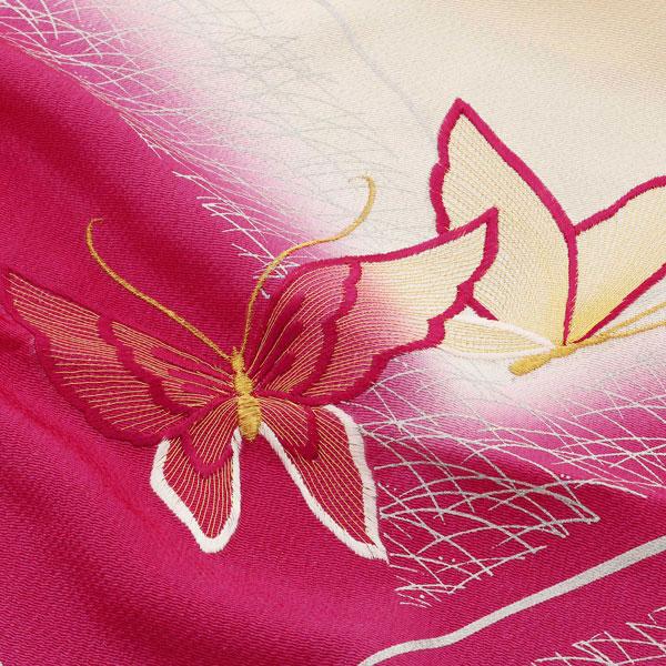 振袖用RAJAブランド帯揚げ「刺繍・蝶 生成り×紫ピンク」[ 振袖 ][ 成人式 ] 正絹【メール便対応可】