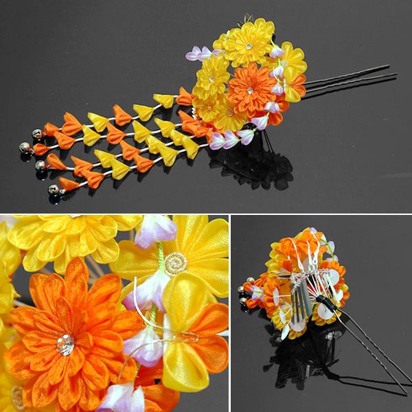 振袖髪飾り つまみ細工のお花髪飾り かんざし 簪
