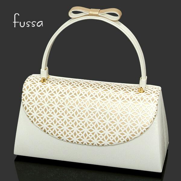 23426af4da5e1 fussa 和装バッグ「白×金 リボン飾り付き」フッサ 振袖用 成人式 ...