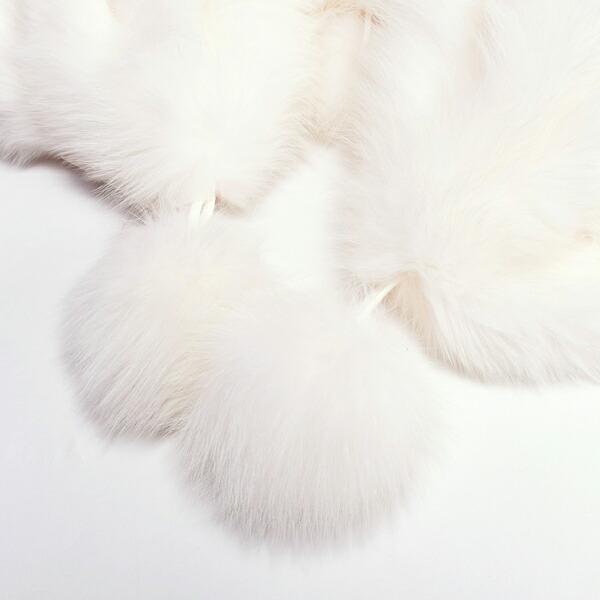 ファー ショール 「5連フォックスファー ショール 白色」 リアルファー ケープ 【メール便不可】