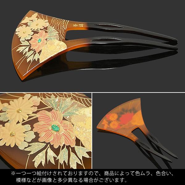 簪 蒔絵風 バチ型かんざし