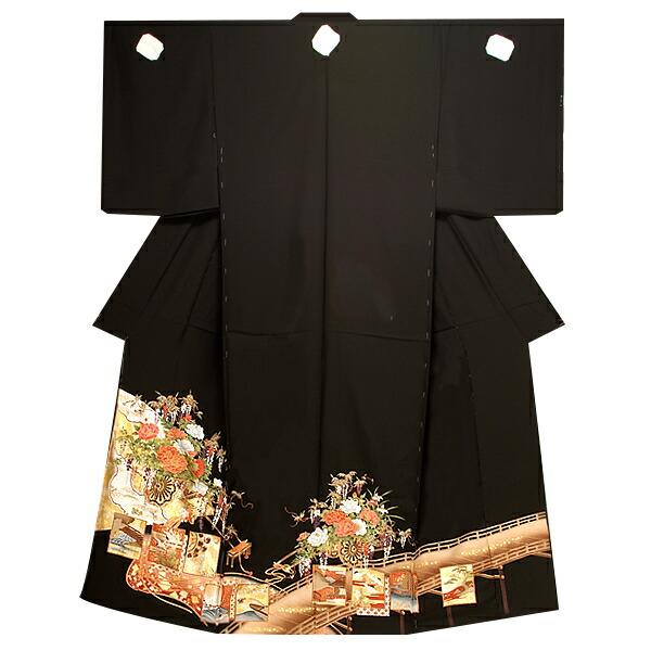 黒留袖単品 正絹黒留袖 京友禅