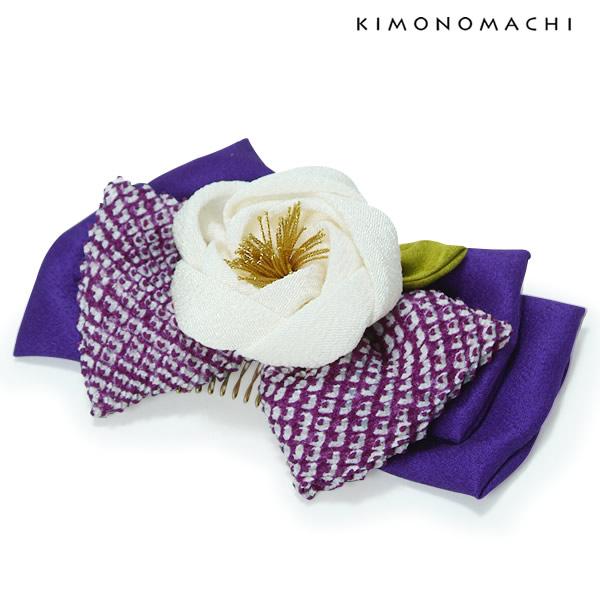 卒業式の袴に お花コーム 正絹リボン