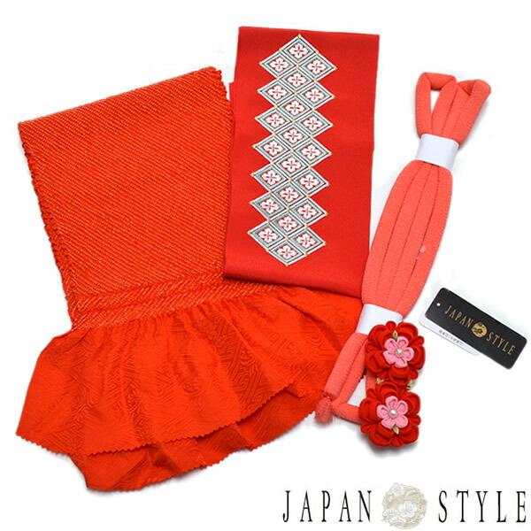 小物セット 帯揚げ、刺繍半衿、帯締め ハーフ成人式、七五三