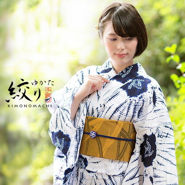 【楽天市場】浴衣 有松絞り 浴衣単品「紺×白色 薔薇、柳絞り ...