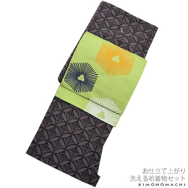袷着物、京袋帯セット 小紋 M、Lサイズ
