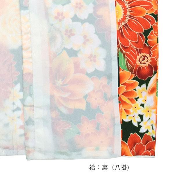 洗える着物 袷 「グリーン×オレンジ 花とハリネズミ、リス」 袷着物単品 レディース キモノ サイズ S M L TL LL【メール便不可】