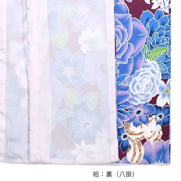 洗える着物 袷 「パープル 花とハリネズミ、リス」 袷着物単品 レディース キモノ サイズ S M L TL LL【メール便不可】