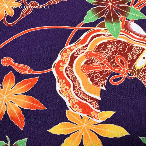 洗える着物 袷 「紫色 烏帽子」 袷着物単品 レディース キモノ サイズ S M L TL LL【メール便不可】
