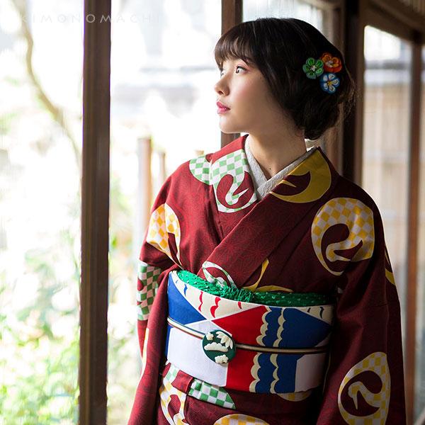 洗える着物 袷 「エンジ 鶴」 袷着物単品 レディース キモノ サイズ S M L TL LL【メール便不可】