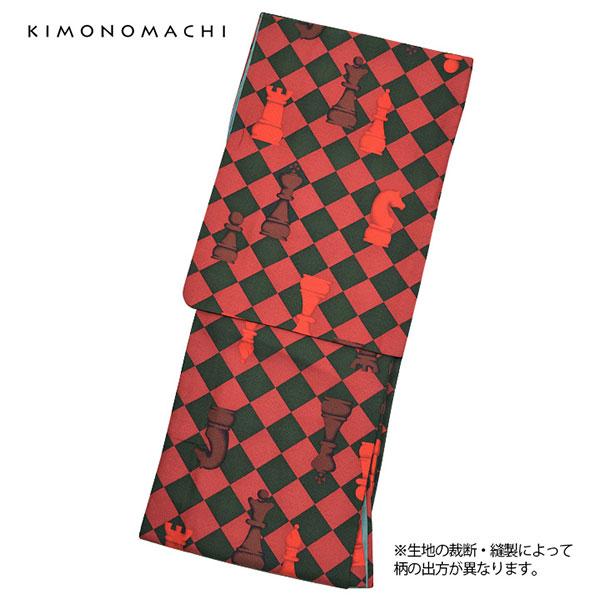 洗える着物 袷 「赤×黒緑色 チェス」 袷着物単品 レディース キモノ サイズ S M L TL LL【メール便不可】