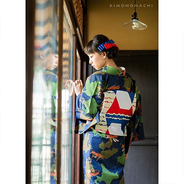京袋帯 単品 数量限定 KIMONOMACHI オリジナル 「幾何学富士山」 ポリエステル 名古屋帯 普段着着物用 【メール便不可】
