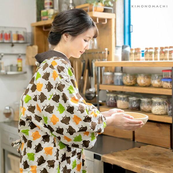ロング丈 割烹着「千鳥」日本製 オシャレ かわいい 綿割烹着 ロング割烹着 着物割烹着 エプロン プレゼント最適品 【送料無料】【メール便対応可】