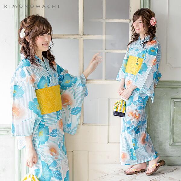 浴衣3点セット 女性浴衣セット 綿浴衣