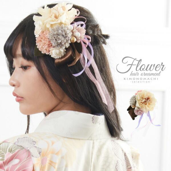 髪飾り ベロア お花髪飾り