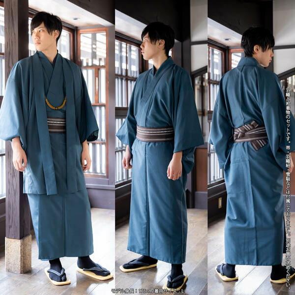 洗えるメンズ着物と羽織のアンサンブル2点セット 紬風 グレー