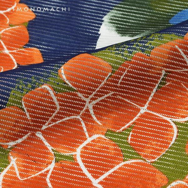 浴衣 レディース 「紫陽花 紺」 綿絽 大人 個性的 花火大会 夏祭り 女性浴衣 女性ゆかた 浴衣単品 夏着物 きもの町オリジナル KIMONOMACHI 【メール便不可】