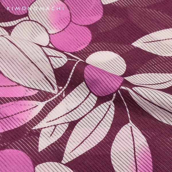 浴衣 レディース 「木の実 紫色」 綿絽 大人 個性的 花火大会 夏祭り 女性浴衣 女性ゆかた 浴衣単品 夏着物 きもの町オリジナル KIMONOMACHI 【メール便不可】