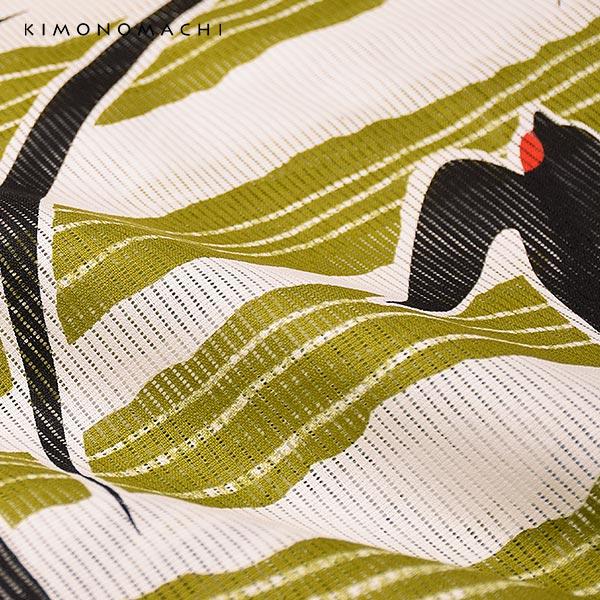 浴衣 レディース 「縞にツバメ 抹茶緑」 綿絽 大人 個性的 花火大会 夏祭り 女性浴衣 女性ゆかた 浴衣単品 夏着物 きもの町オリジナル KIMONOMACHI 【メール便不可】