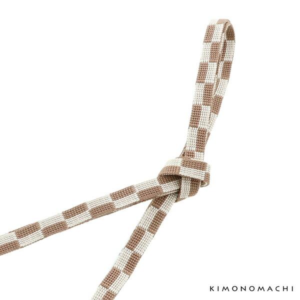正絹 三分紐「茶色×生成り色 市松」正絹三分紐単品 帯締め 三分締め 洒落小物<H>【メール便対応可】