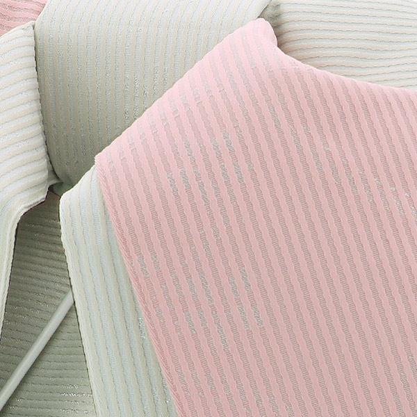 作り帯 結び帯 付帯 浴衣帯 着付け簡単 リボンタイプ 「ストライプ 七宝に桜 アイボリー×ベビーピンク ラメ」 日本製 LMB-A8【メール便不可】