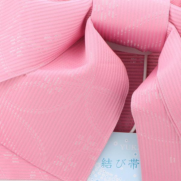 作り帯 結び帯 付帯 浴衣帯 着付け簡単 リボンタイプ 「ストライプ 七宝に桜 ピンク ラメ」 日本製 LMB-A14【メール便不可】
