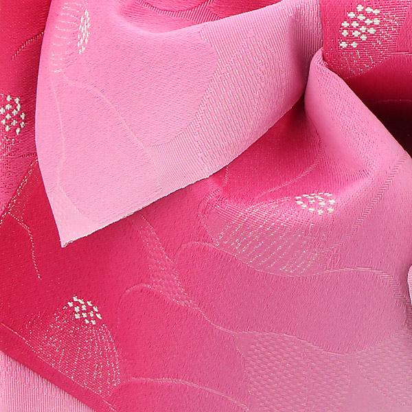 作り帯 結び帯 付帯 浴衣帯 着付け簡単 リボンタイプ 「椿 ラズベリーぼかし ラメ」 日本製 LMB-C6【メール便不可】
