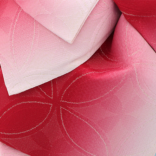 作り帯 結び帯 付帯 浴衣帯 着付け簡単 リボンタイプ 「変わり七宝 ラズベリーぼかし ラメ」 日本製 LMB-C26【メール便不可】