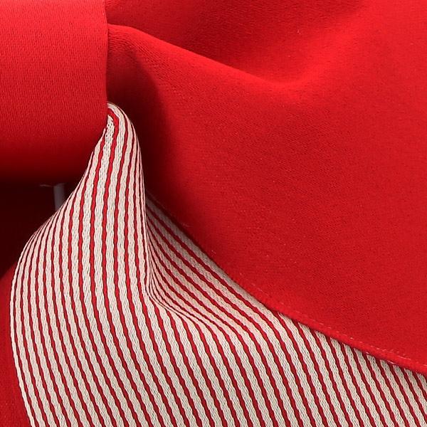 作り帯 結び帯 付帯 浴衣帯 着付け簡単 リボンタイプ 「無地×ストライプ レッド」 日本製 LMB-ST3【メール便不可】
