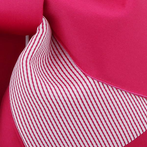 作り帯 結び帯 付帯 浴衣帯 着付け簡単 リボンタイプ 「無地×ストライプ ラズベリー」 日本製 LMB-ST5【メール便不可】