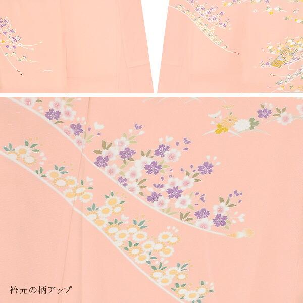 訪問着 お仕立て上がり 単品 「ピンク 四季折々の花」 正絹着物 礼装 正絹 訪問着 結婚式 パーティー 祝賀会 袷 プレタ 仕立てあがり <T>【メール便不可】