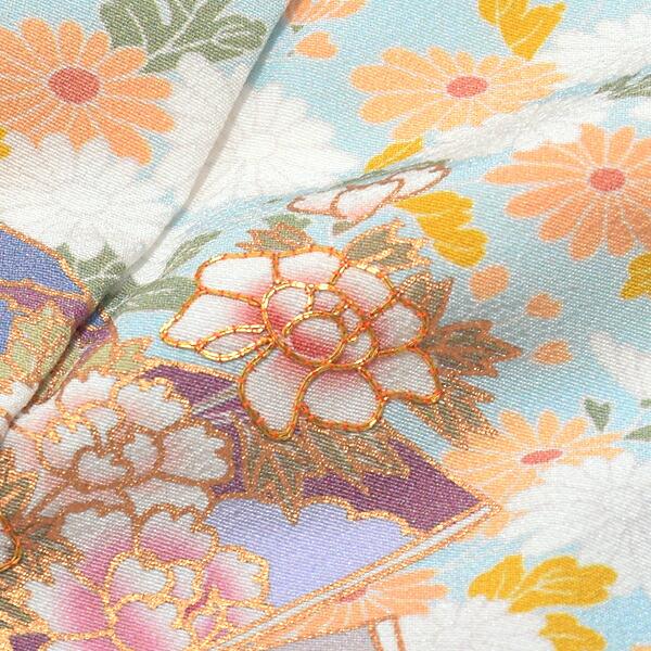 訪問着 お仕立て上がり 6点セット 「ブルー 四季折々の花」 正絹着物 礼装 正絹 訪問着 結婚式 パーティー 祝賀会 袷 プレタ 袋帯・帯締め・帯揚げ・草履・バッグ付き <T>【メール便不可】