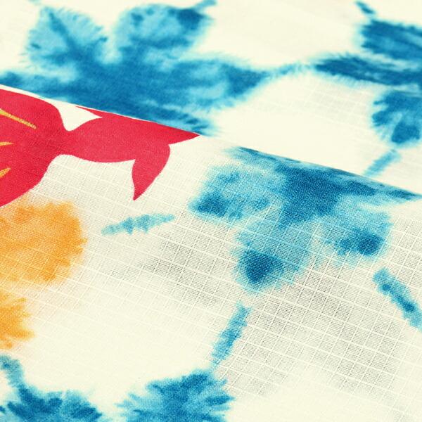 bonheur saisons ブランド浴衣単品 レディース 浴衣 「金魚 雪花絞り風 淡いクリーム地に水色黄(9JR-91)」 ボヌールセゾン 大人浴衣 Fサイズ 女性用 女性浴衣 ゆかた 【メール便不可】