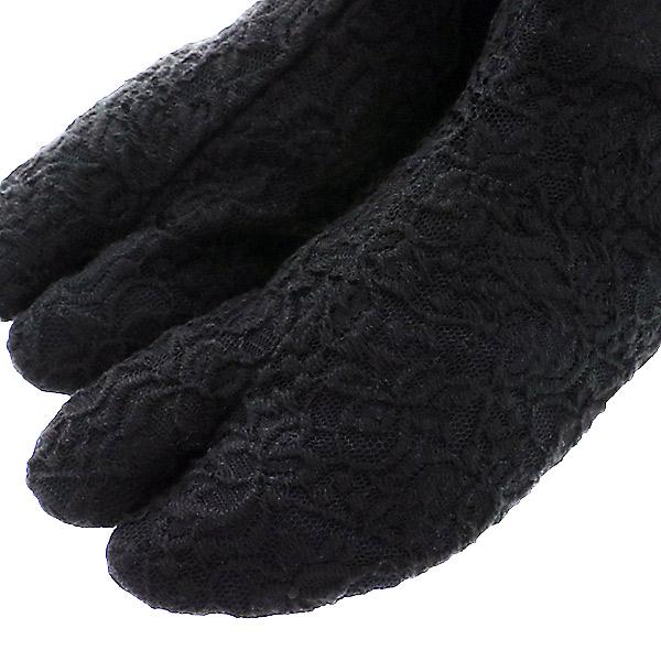 レース足袋 4枚こはぜ 黒 S/M/Lサイズ 日本製 <H>【メール便対応可】