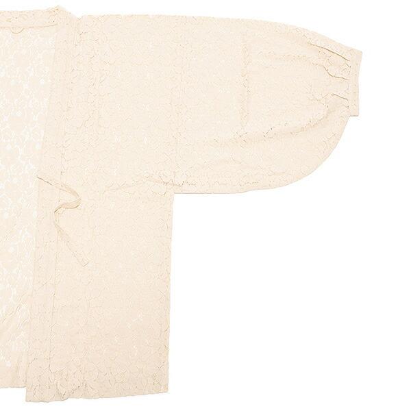 羽織 着物 茶羽織 綿レース花 ベージュ(2251) 日本製 レディース 羽織り 【メール便不可】