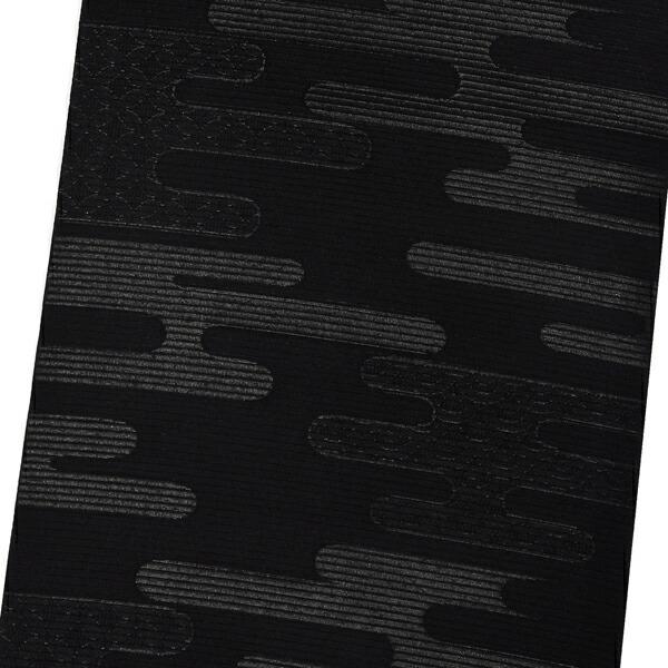 【訳アリ】お仕立て上がり 絽 正絹 黒共 九寸名古屋帯 「雲に七宝文様と青海波 全通柄」 喪用名古屋帯 喪式用 九寸帯 正絹名古屋帯 夏物 女性用 ブラックフォーマル 在庫限り【メール便不可】