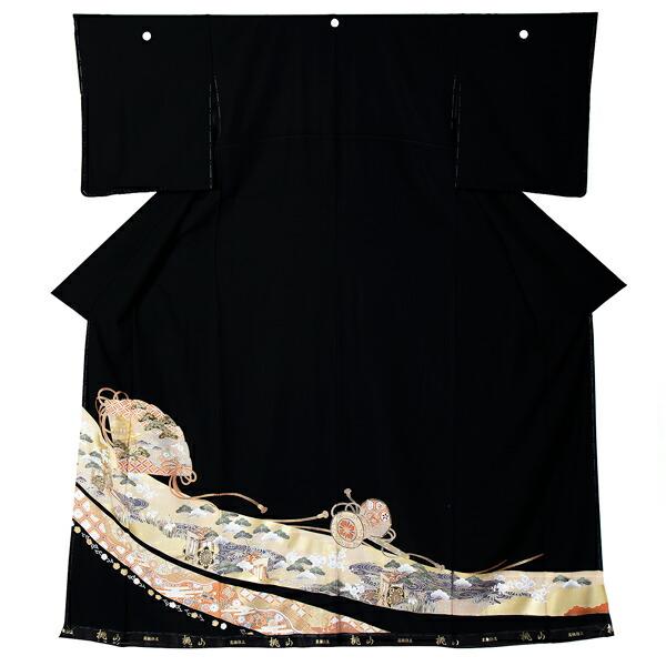 黒留袖 お仕立て上がり 単品 「扇、御所解き」 紋入れ代込み 正絹着物 第一礼装 正絹 留袖 結婚式 袷 プレタ 仕立てあがり お仕立て上がり黒留袖単品 <T>【メール便不可】