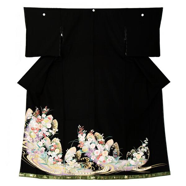 黒留袖 お仕立て上がり 単品 「桜に流水」 紋入れ代込み 正絹着物 第一礼装 正絹 留袖 結婚式 袷 プレタ 仕立てあがり お仕立て上がり黒留袖単品 <T>【メール便不可】