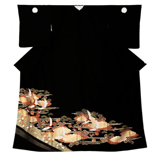 黒留袖 お仕立て上がり 単品 「雲に鶴、七宝」 紋入れ代込み 正絹着物 第一礼装 正絹 留袖 結婚式 袷 プレタ 仕立てあがり お仕立て上がり黒留袖単品 <T>【メール便不可】