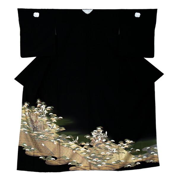 黒留袖 お仕立て上がり 単品 「松に飛鶴、籠目」 紋入れ代込み 正絹着物 第一礼装 正絹 留袖 結婚式 袷 プレタ 仕立てあがり お仕立て上がり黒留袖単品 <T>【メール便不可】