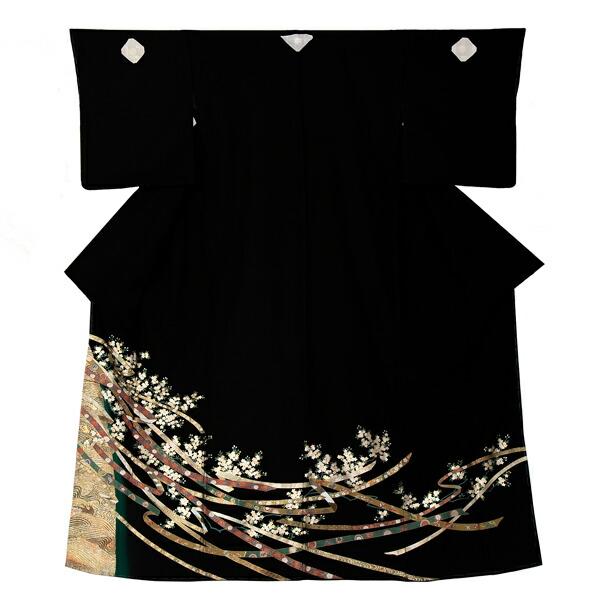 黒留袖 お仕立て上がり 単品 「蔓帯に桜」 紋入れ代込み 正絹着物 第一礼装 正絹 留袖 結婚式 袷 プレタ 仕立てあがり お仕立て上がり黒留袖単品 <T>【メール便不可】