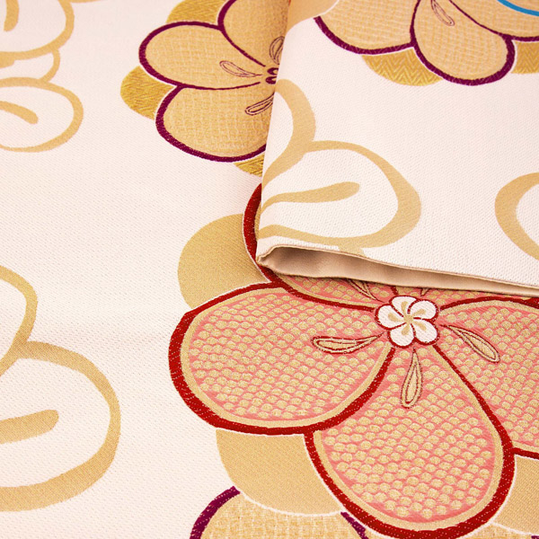 振袖 帯「ベージュ ねじり梅」 日本製 ポリエステル帯 お仕立てあがり 振袖用 袋帯 お仕立て済 振袖帯 二重太鼓 変わり結び可能 <T>【メール便不可】