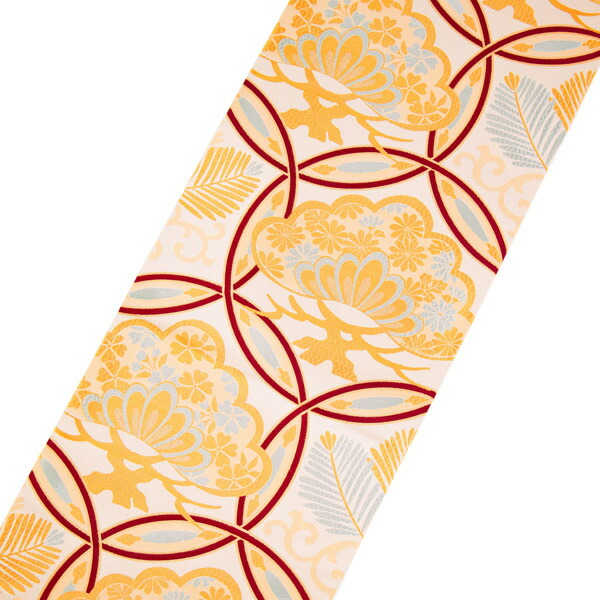 振袖 帯「生成り 輪繋ぎに松」 日本製 ポリエステル帯 お仕立てあがり 振袖用 袋帯 お仕立て済 振袖帯 二重太鼓 変わり結び可能 <T>【メール便不可】
