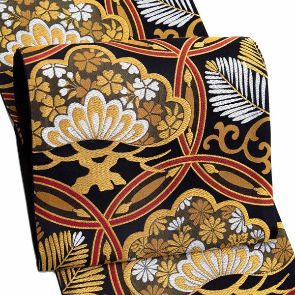 振袖 帯「黒地 輪繋ぎに松」 日本製 ポリエステル帯 お仕立てあがり 振袖用 袋帯 お仕立て済 振袖帯 二重太鼓 変わり結び可能 <T>【メール便不可】