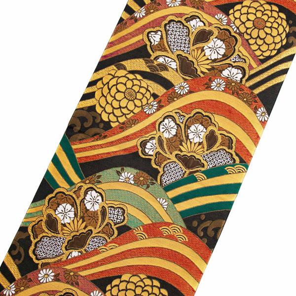 振袖 帯「黒地 波に牡丹、菊」 日本製 ポリエステル帯 お仕立てあがり 振袖用 袋帯 お仕立て済 振袖帯 二重太鼓 変わり結び可能 <T>【メール便不可】