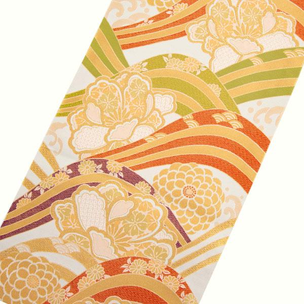 振袖 帯「生成り 波に牡丹、菊花」 日本製 ポリエステル帯 お仕立てあがり 振袖用 袋帯 お仕立て済 振袖帯 二重太鼓 変わり結び可能 <T>【メール便不可】